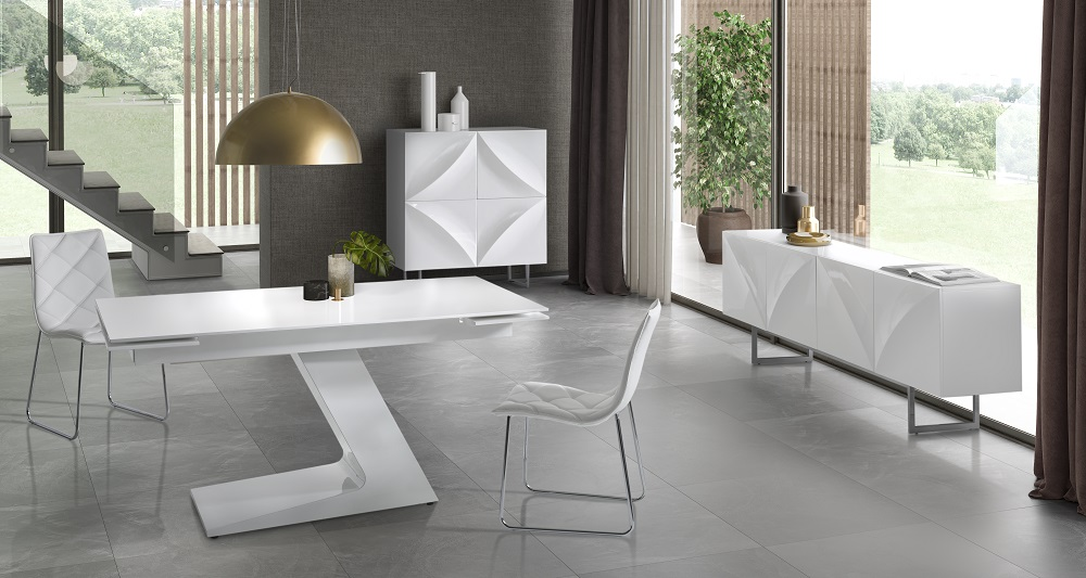 Conjunto de comedor minimalista blanco dt 21 www for Conjunto mesa extensible y sillas comedor