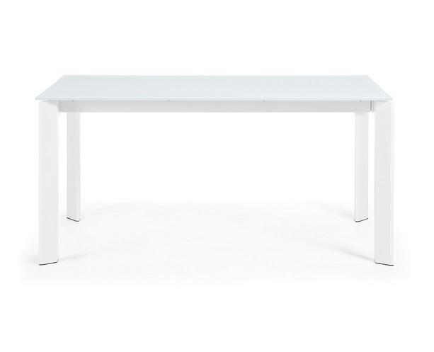 Mesa extensible lam cristal blanco 160-220x90