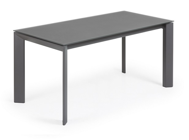 Mesa extensible lam cristal grafito 160-220x90
