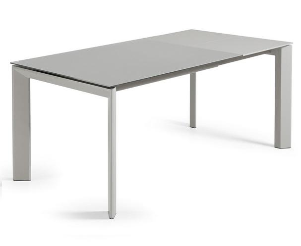 Mesa de comedor extensible lam cristal gris 120 180x80 for Mesa comedor extensible gris