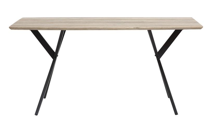 Mesa de comedor Irene roble gris metal negro 160x90