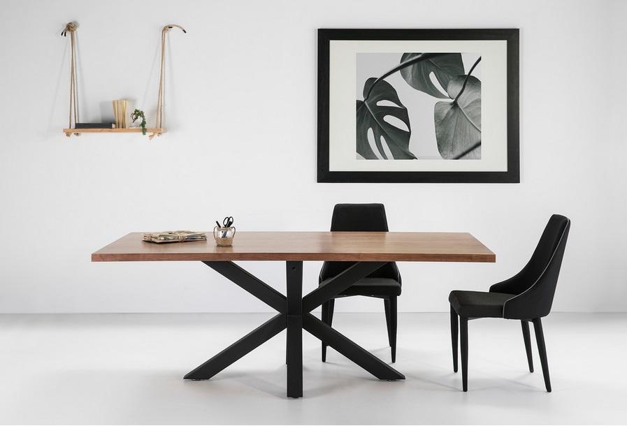 Mesa de comedor Ainoa nogal pies metal negro 200x100