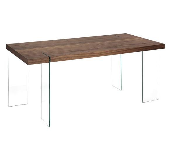 Mesa madera nogal vidrio180x90
