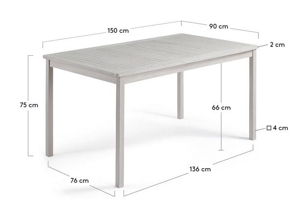 Mesa madera acacia patina gris bou 150x90