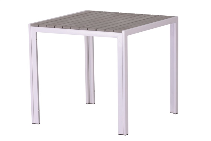 Mesa aluminio gris lamas polywood gris Beach 80x80