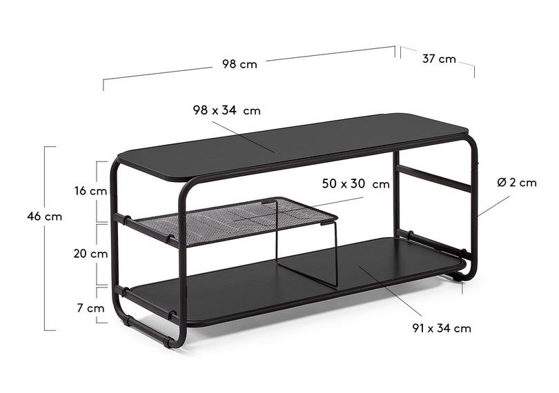 Mueble TV metal negro campus 98 cm