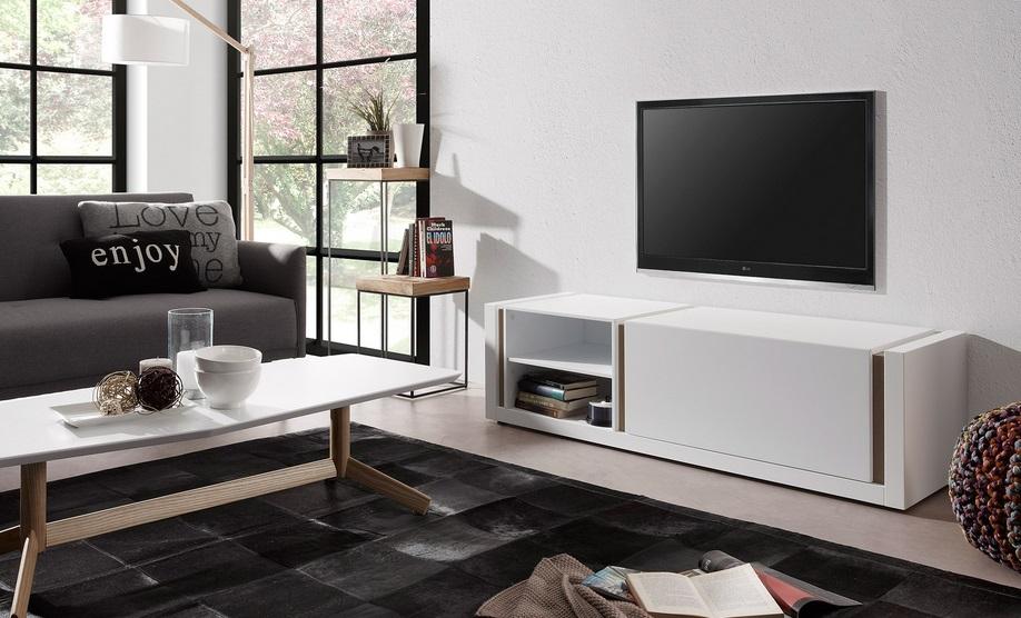 Mueble TV nordic blanco mate roble 140