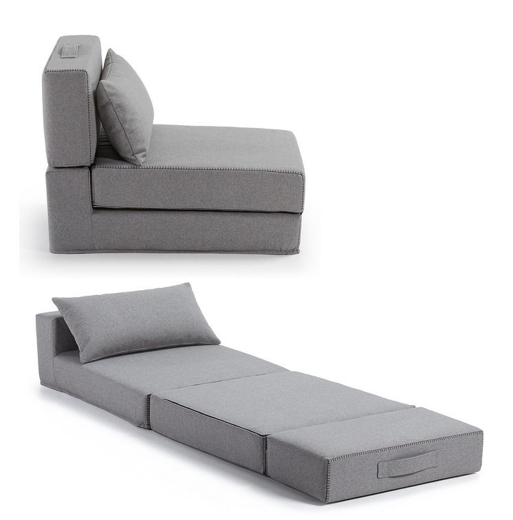 Puf cama plegable tela varese gris