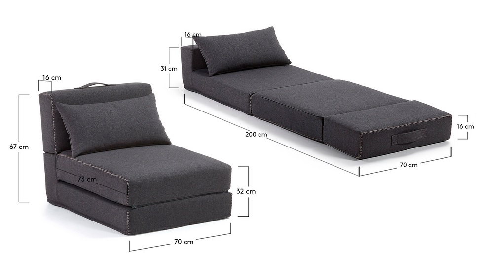 Puf cama plegable tela varese gris oscuro