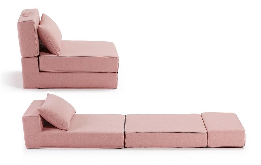 Puf cama plegable tela varese rosa