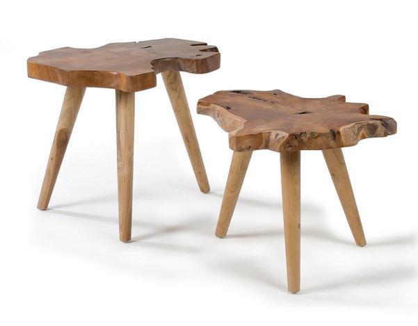 Set dos mesas de centro teca natural