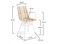 Silla natural rattan metal blanco