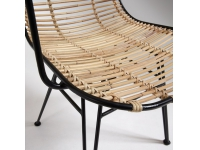 Silla natural rattan metal negro