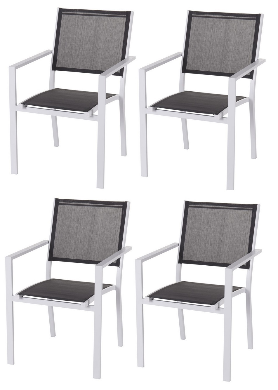 pack 4 silla terraza aluminio blanco textilene gris