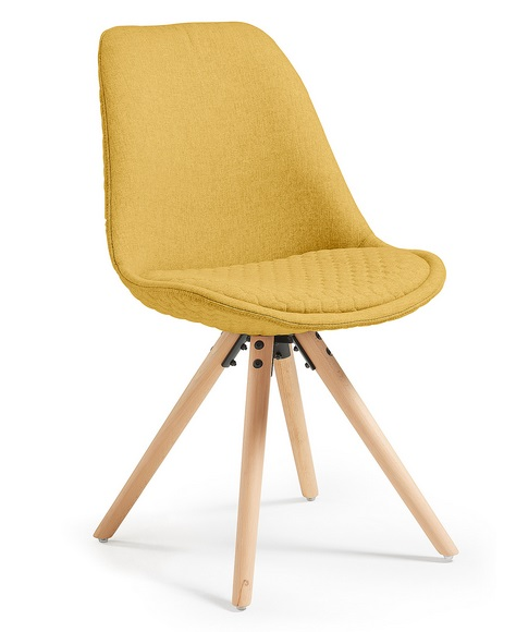 Silla tower nordica tela amarillo mostaza