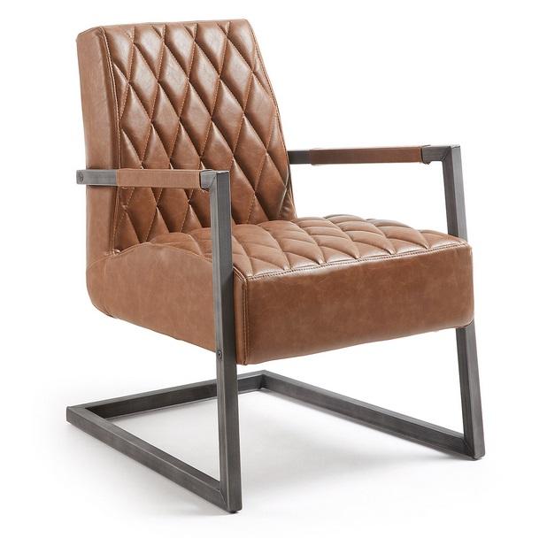 Sillon bugatti hierro tapizado marron