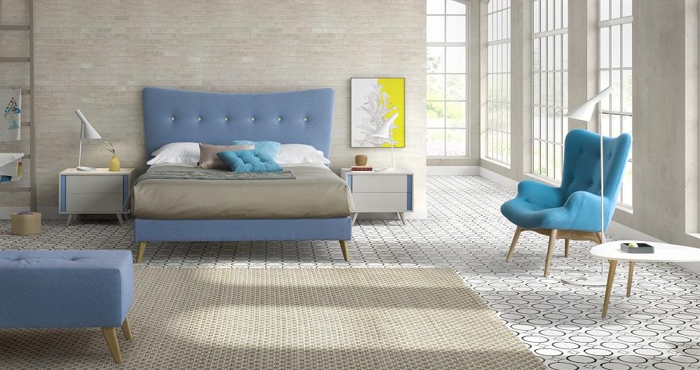Sillon nordico Grant tela azul madera fresno
