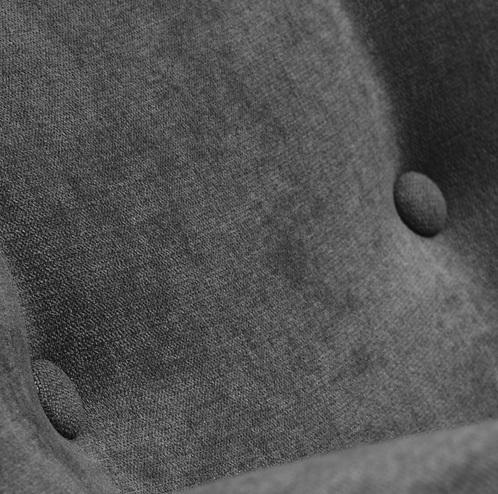 Sillon orejero retro botones tela gris oscuro patas madera