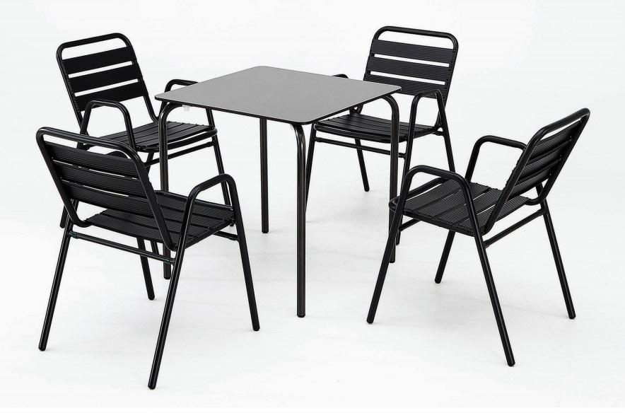 Mesa de terraza tablero negro compacto plus 70x70 cm