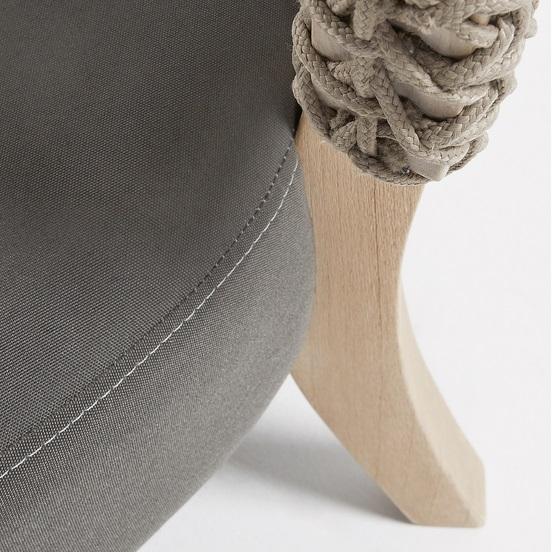 Sillon curvo teca natural cuerda beige