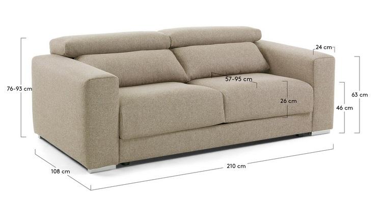 Sofa binari deslizante 3 plazas tela beige