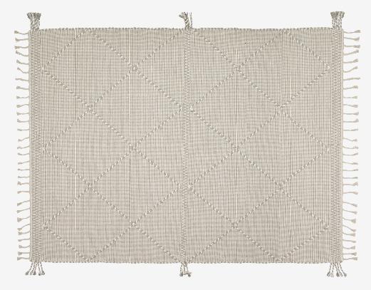 Alfombra estilo rústico algodón color beige 160x230 cm