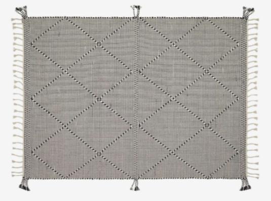 Alfombra estilo rústico algodón color negro 160x230 cm