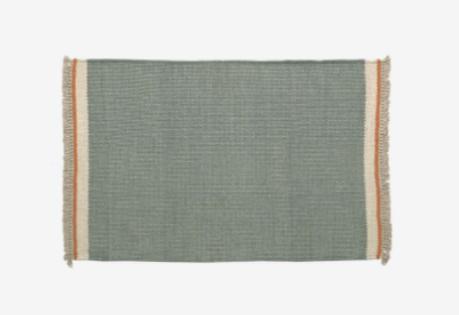 Alfombra de lana y algodón color azul 60x90 cm