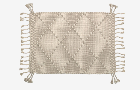 Alfombra estilo rústico algodón color beige 60x90 cm