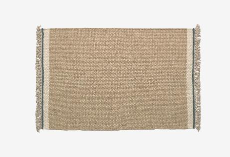 Alfombra de lana y algodón color beige 60x90 cm