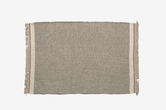 Alfombra de lana y algodón color gris 60x90 cm