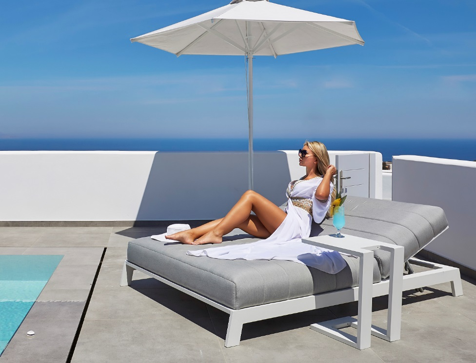 ANDROS tumbona doble lounge tapizado nautico aluminio blanco