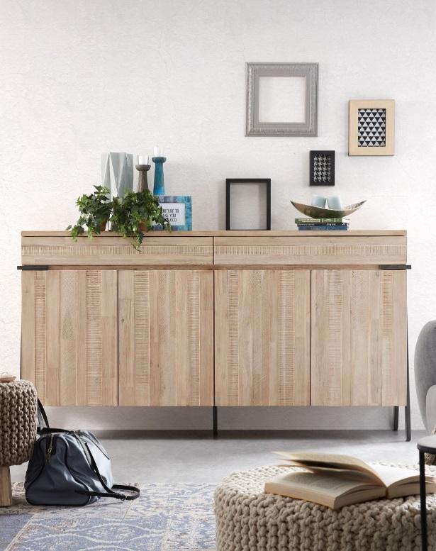 Aparador Budapest madera maciza de acacia 184x98 cm