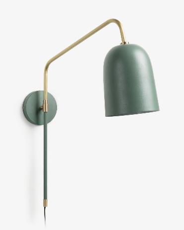 Lampara aplique Formelle de acero verde y dorado