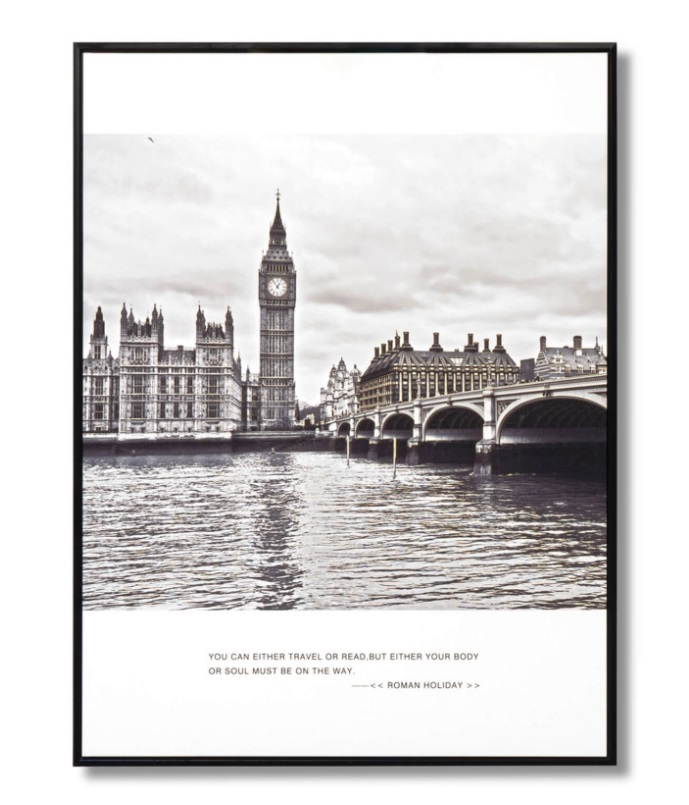 Cuadro Big Ben negro 60x80 cm