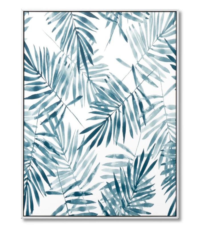 Cuadro Blue Palm blanco 60x80 cm