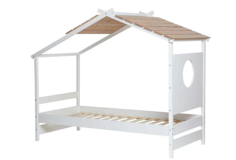 Cama cabaña juvenil Nayah madera de pino blanco 90x190 cm