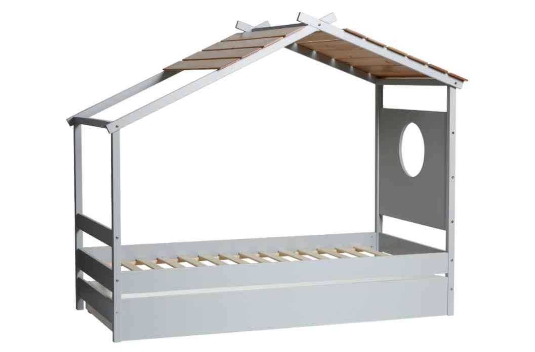 Cama cabaña juvenil Nayah con cajon madera de pino gris claro 90x190 cm