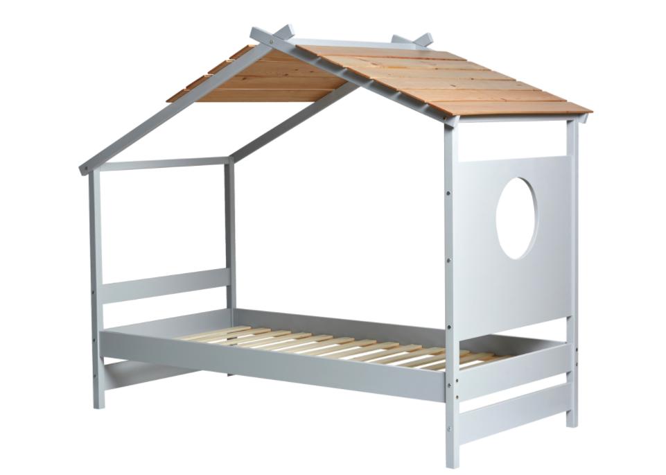 Cama cabaña juvenil Nayah madera de pino gris claro 90x190 cm