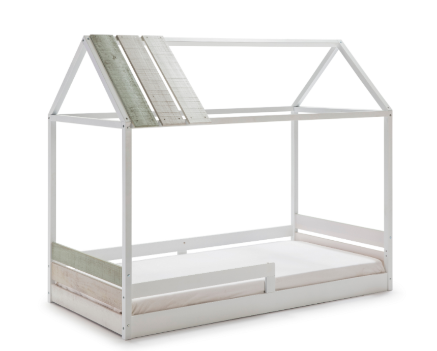Cama cabaña juvenil ILENIA madera de pino blanco 90x190 cm