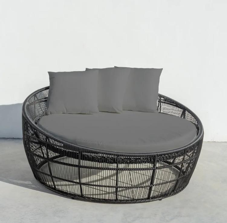Cama de terraza Dido ratan negro 160x60x76 cm