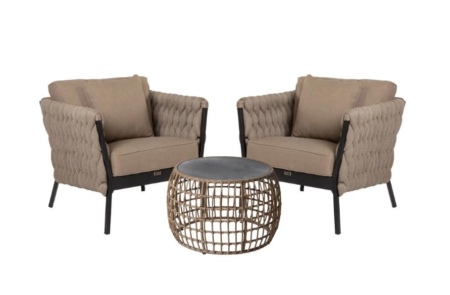 Set Rebecca 2 sillones de aluminio y mesa de ratan
