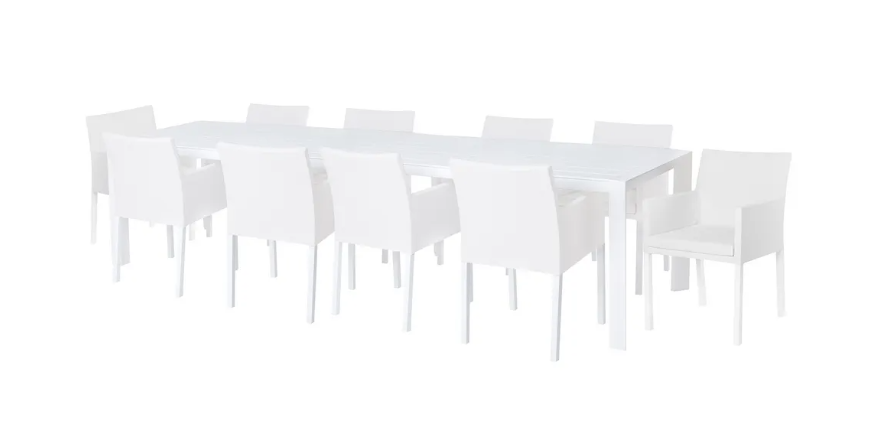 Conjunto de terraza IO aluminio textileno blanco