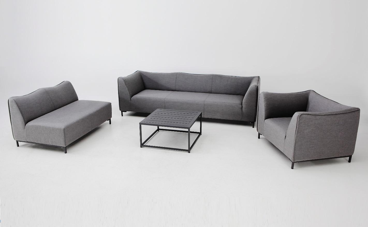 Naxos set Sofa esquinero 6 plazas terraza lounge tapizado gris