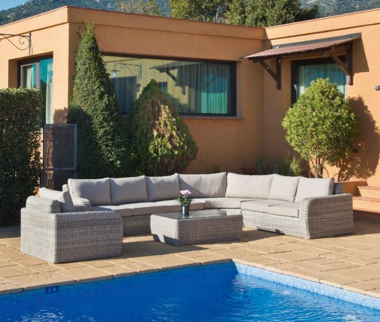 Set sofa terraza Adam ratan ashed grey cojines khaki