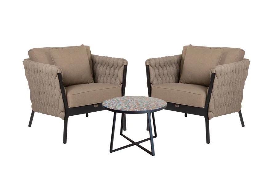 Set Rebecca 2 sillones de aluminio y mesa de cerámica