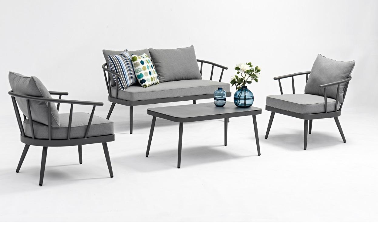 Set sofa jardin Split aluminio griscon cojines