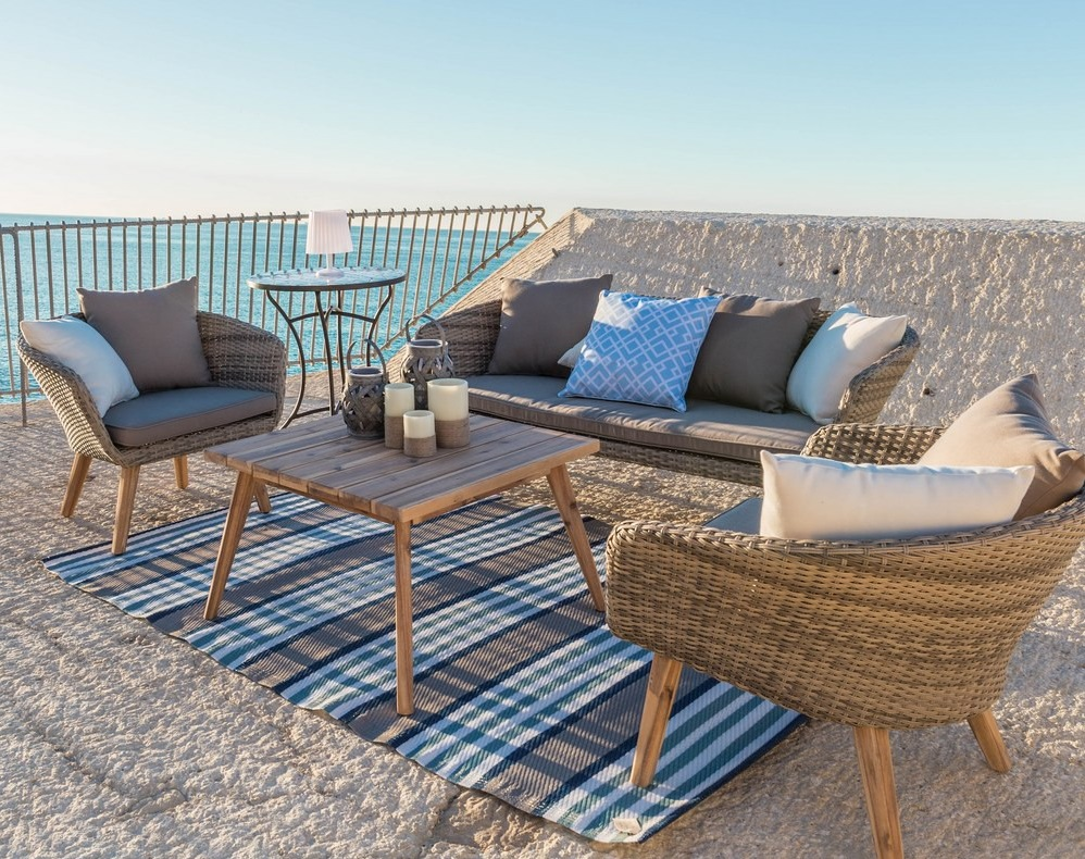 Set sofa terraza natural ratan acacia cojines topo
