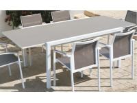 Mesa extensible aluminio blanco Moka Laos 150-220x106 cm