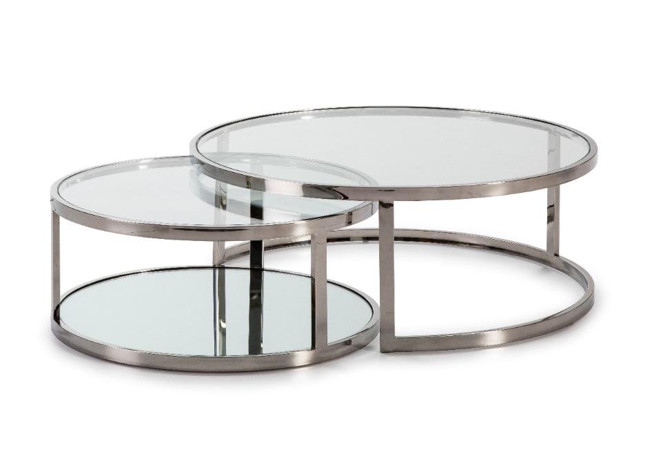 Juego mesas de centro acero y cristal CT-509